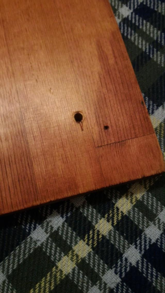自作ローテーブルの足を天板に固定する穴