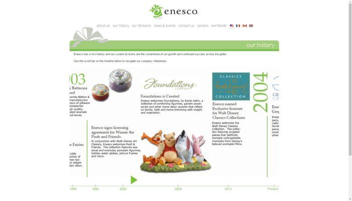 Enesco社ホームページのキャプチャ