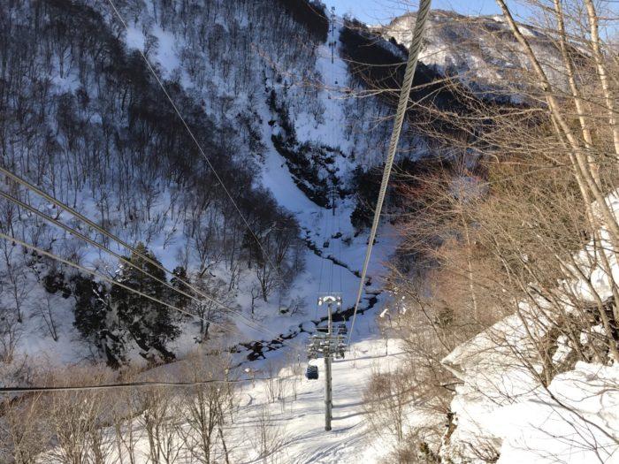 苗場スキー場と田代スキー場を繋ぐゴンドラ