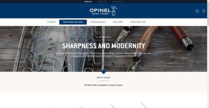 OPINELのWEBサイトのSLIM KNIVES
