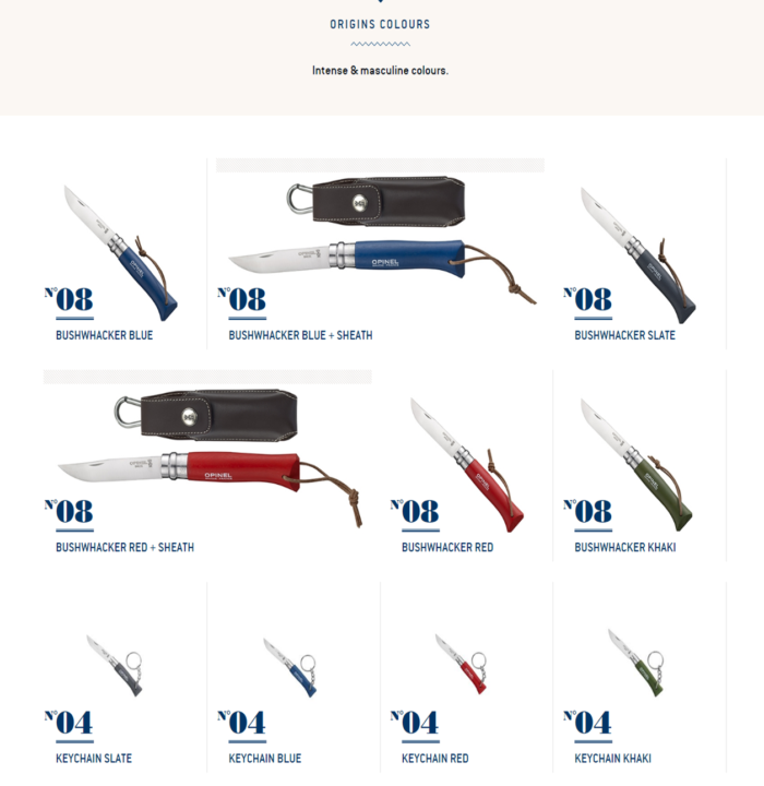OPINELのWEBサイトのTRADITIONのORIGINS COLOURS