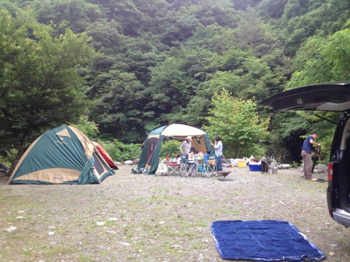 藤野キャンプ場サイレントリバーでキャンプの昼食