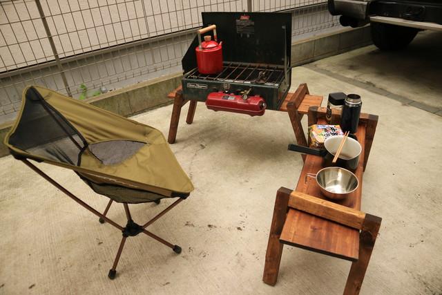 自宅にてデイキャンプのColemanのツーバーナー413H