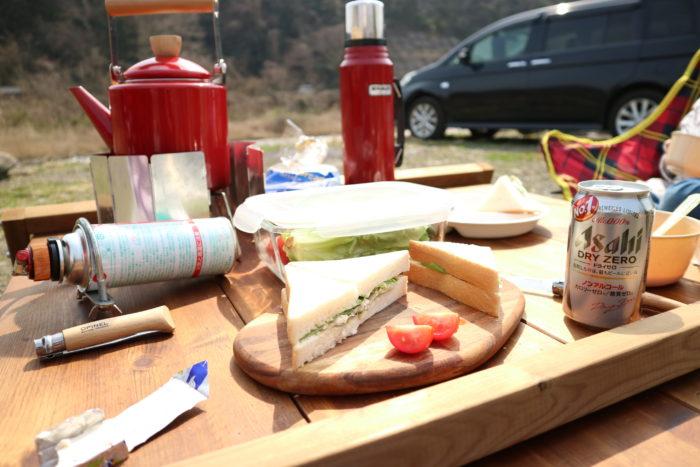 田代運動公園でデイキャンプでサンドイッチを作る