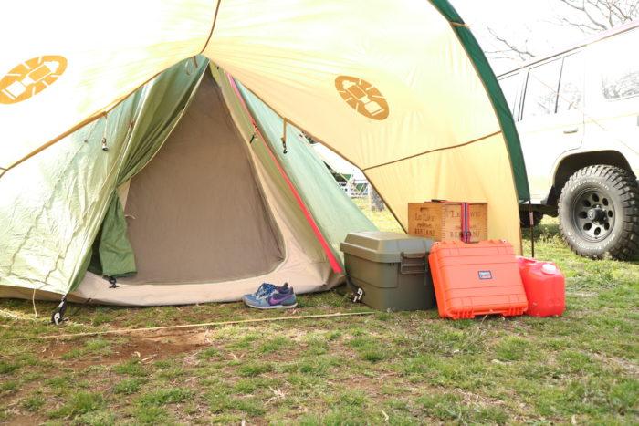 ノースイーグルのコットンワンポール300にコールマンジョイントフラップフォーリッジドームを付ける