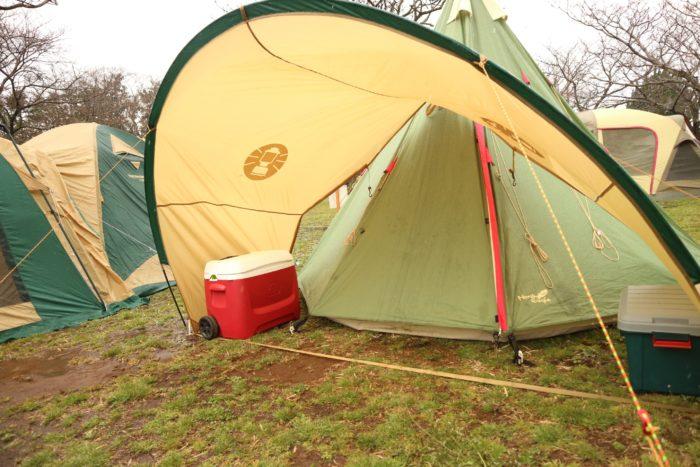 森のまきばオートキャンプ場でキャンプ、テント設営コールマンジョイントフラップフォーリッジドームを試す