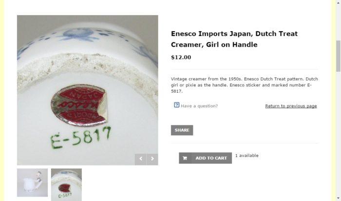 1950'sの「IMPORTS Enesco JAPAN」のシール