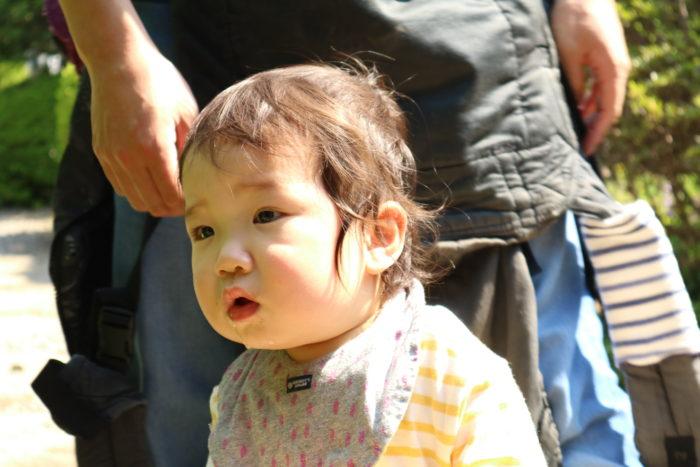 『日下田藍染工房』で興味津々の1歳児