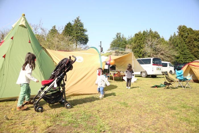 益子陶器市キャンプの宿泊先のオートキャンプ那珂川ステーションの朝