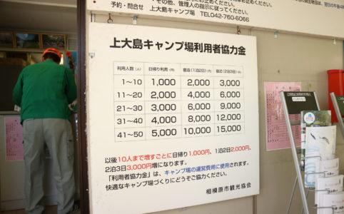 GWの上大島キャンプ場の料金表