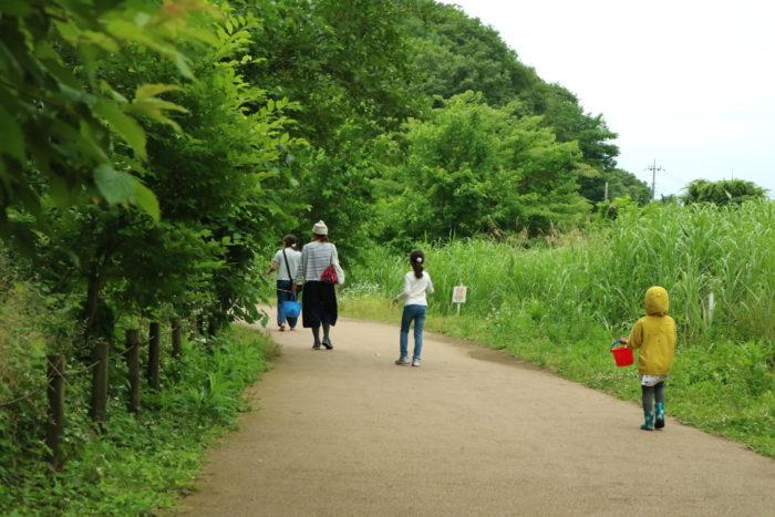 谷戸山公園の里山体験館にトイレと休憩に向かいます。