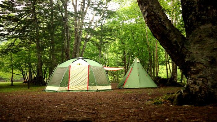 菅沼キャンプ村でノースイーグルのオクタゴンBIGスクリーン480タープを設営