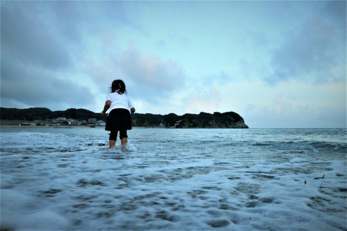 海開き前の守谷海水浴場の夕方