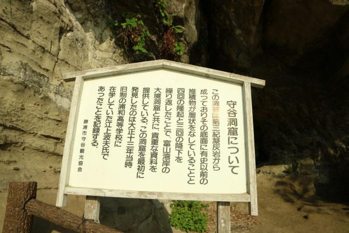 守谷洞窟の看板