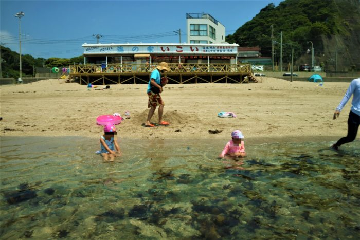 海開き前の守谷海水浴場で遊ぶ