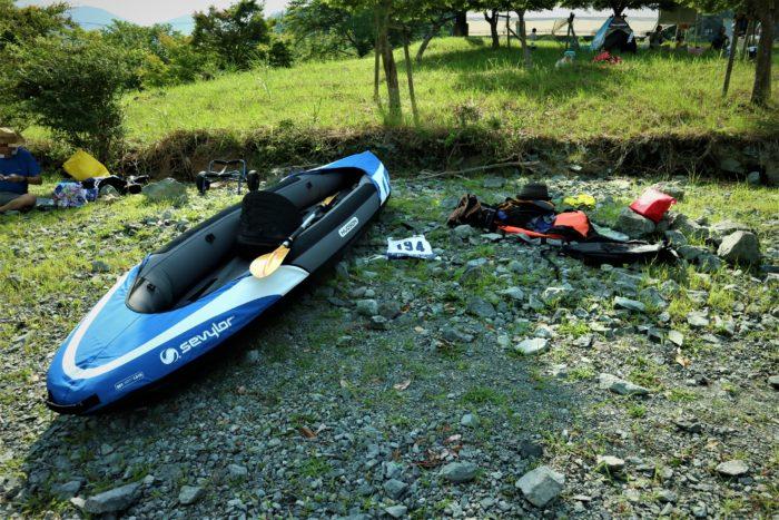 第17回カヌーマラソンIN丹沢湖の検艇の準備