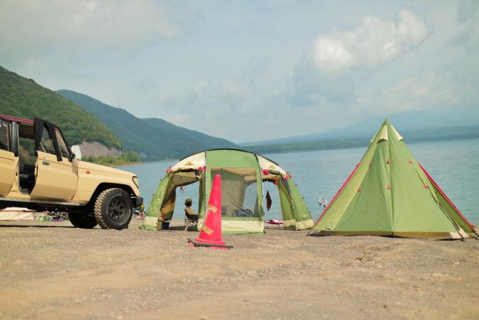 浩庵キャンプ場でテントの設営完了