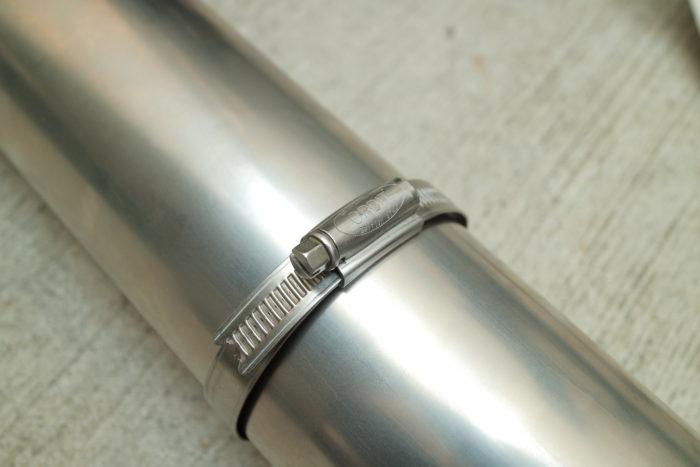 薪ストーブのチョッパープロト用の巻き巻き煙突を止める金具