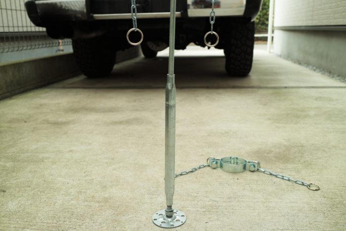 薪ストーブ、チョッパープロトタイプに使う煙突支えの鋼製束