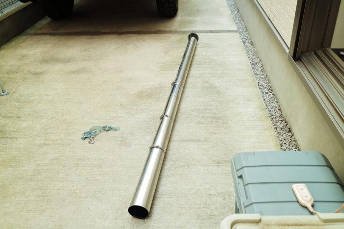 薪ストーブのチョッパープロトの巻き煙突を仮組する