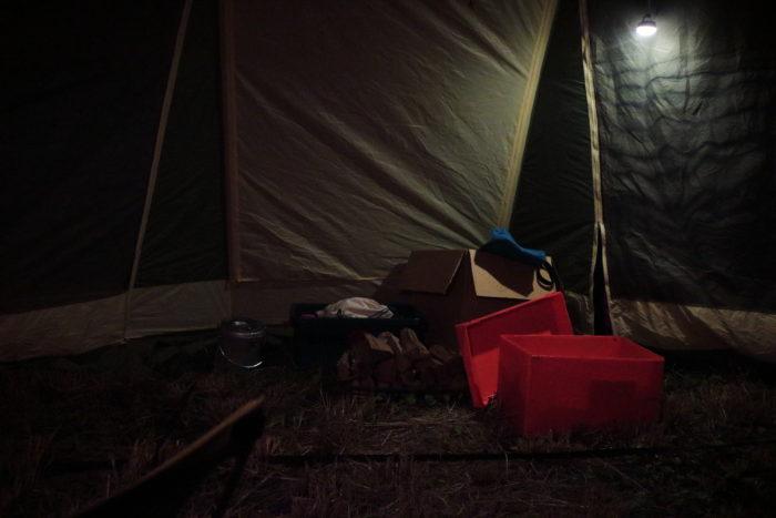 田代運動でソロキャンプの設営が完了