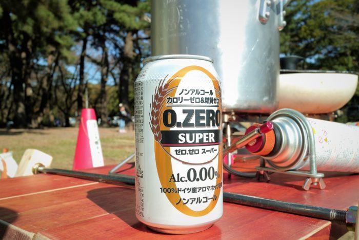 上大島キャンプ場でデイキャンプ、飲み物はノンアルコール