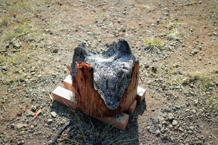 スエディッシュトーチが綺麗に燃えた跡