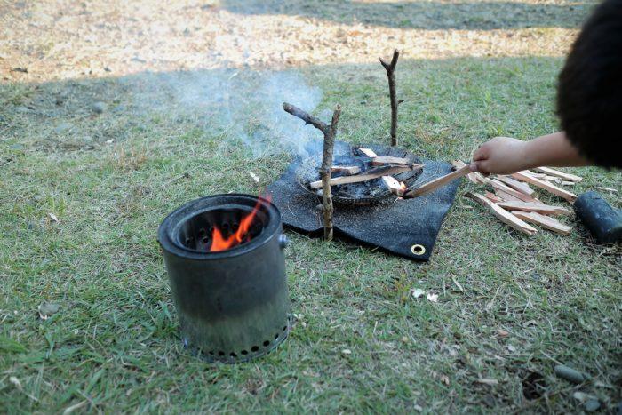 ウッドガスストーブと焚き火