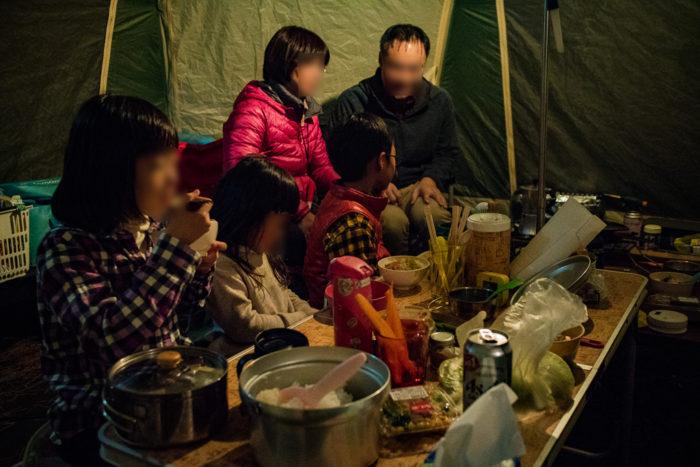 だるま山高原キャンプ場での夕飯