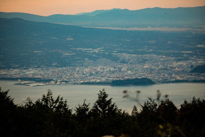 だるま山高原キャンプ場からの駿河湾と沼津の眺め