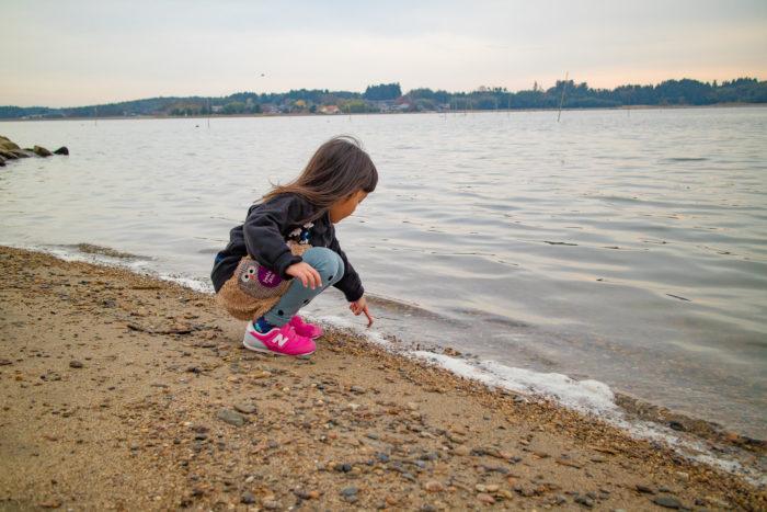 涸沼湖畔で遊ぶ