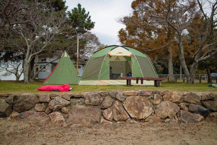 親沢公園キャンプ場に設営したノースイーグルオクタゴン