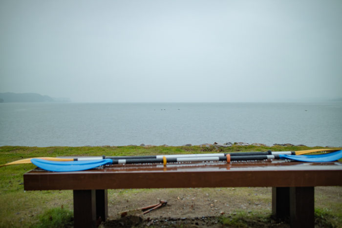 親沢公園キャンプ場で雨。