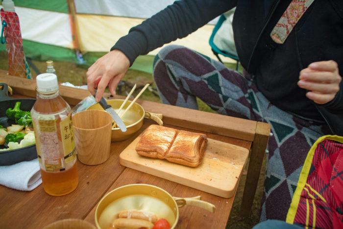 親沢公園キャンプ場での朝ごはん。