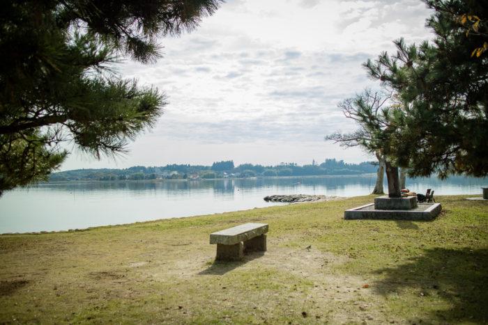 親沢公園キャンプ場からの涸沼の景色