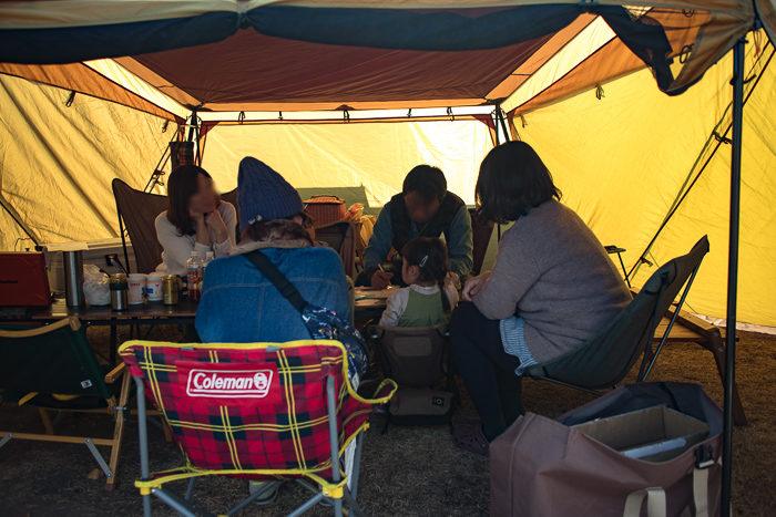 蔓巻公園キャンプ場での宴会場