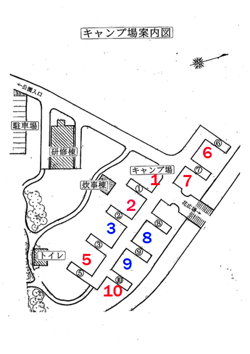 蔓巻公園キャンプ場のサイト地図