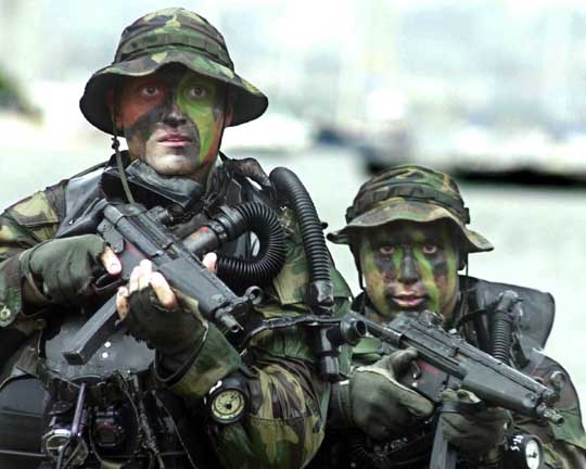 引用:Wiki Heckler & Koch MP5 U.S. Navy SEALs armed with MP5-Ns on a training exercise.