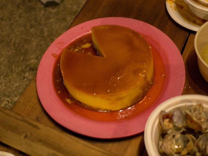 蔓巻公園オートキャンプ場の宴会のデザートはかぼちゃのプリン