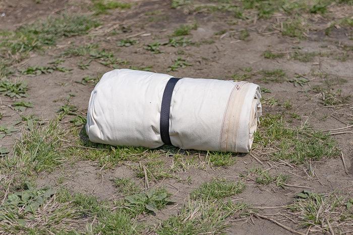 田代運動でデイキャンプしたときに設営した自作コットンスクエアタープ