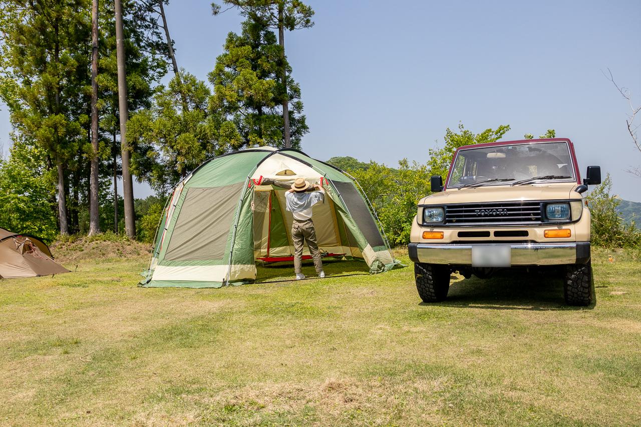 GW前半に鷲の巣キャンプ場のフリーサイトで設営