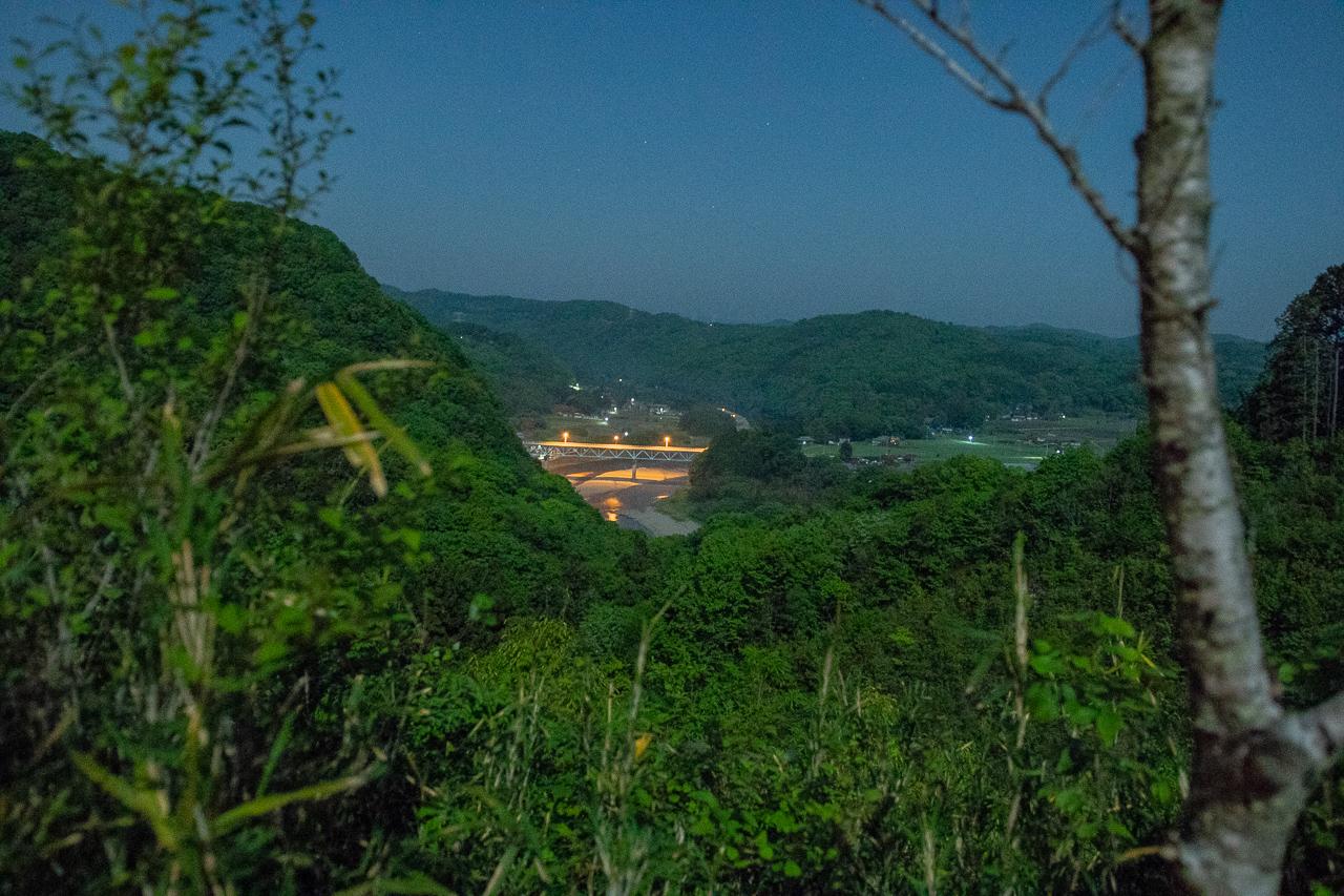 鷲の巣キャンプ場からの那珂川の夜景
