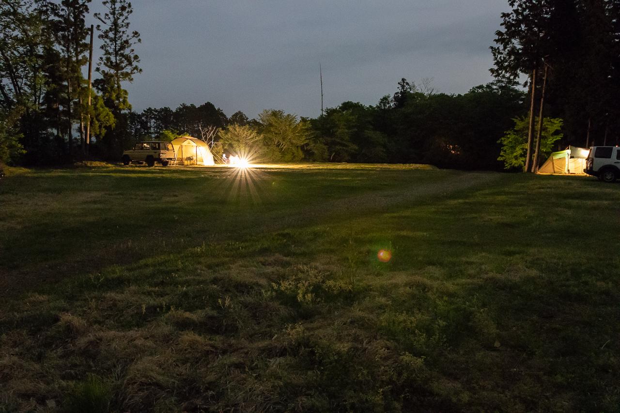 GWの鷲の巣キャンプ場の夜