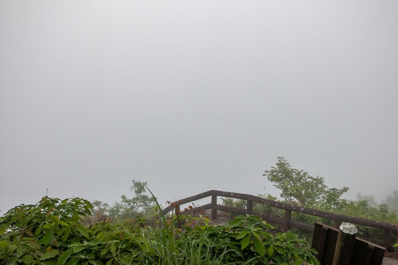 霧の中での鎌倉山展望台からの那珂川の眺め