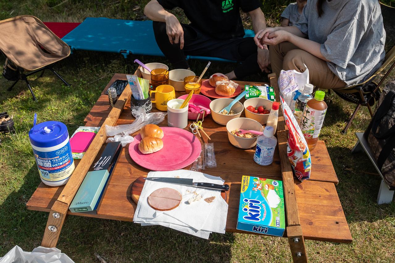 GWの鷲の巣キャンプ場の朝食