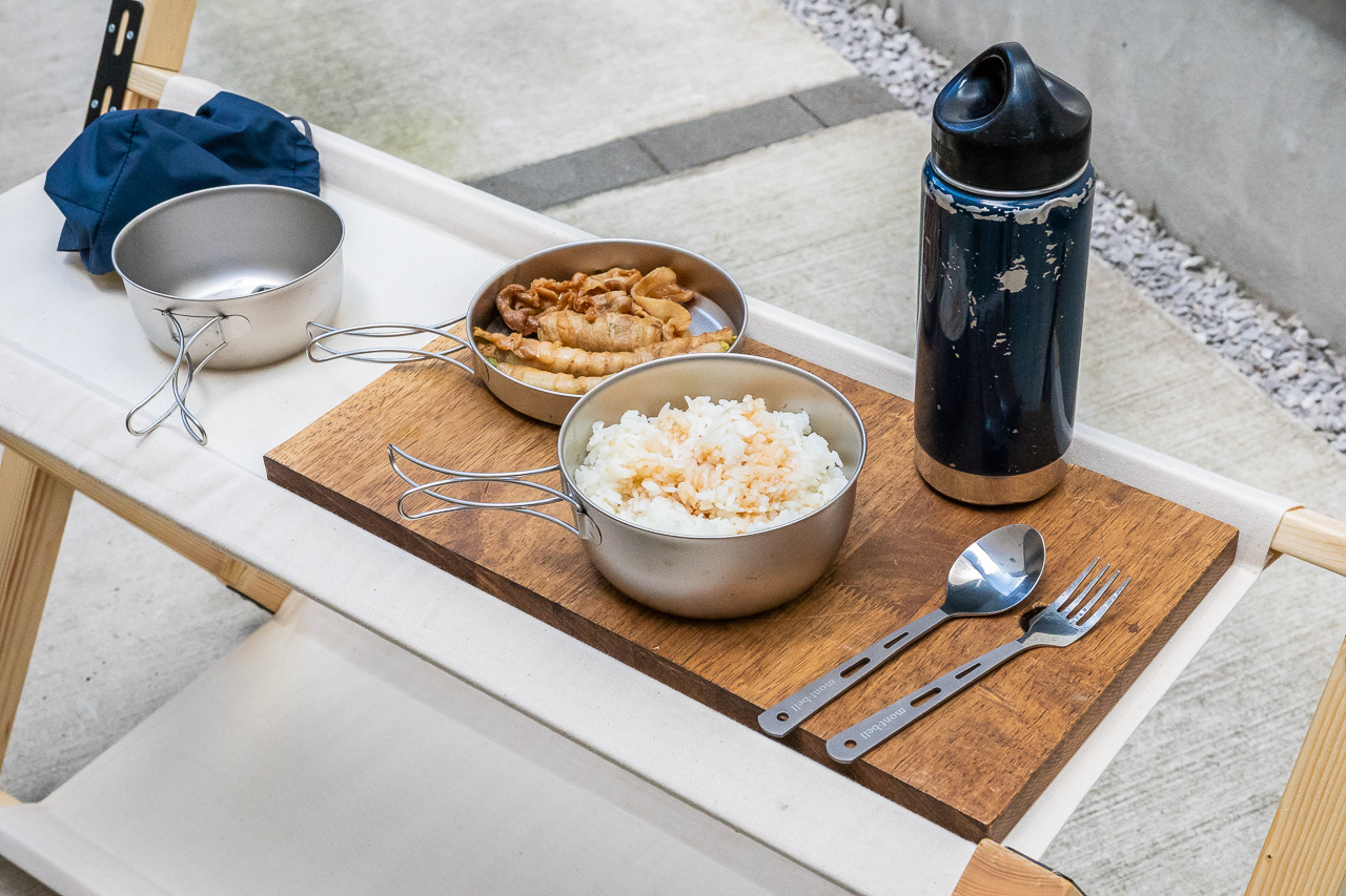モンベル(mont-bell)のチタンボール・ディッシュセットとスプーン&フォークセットでご飯を食べてみる