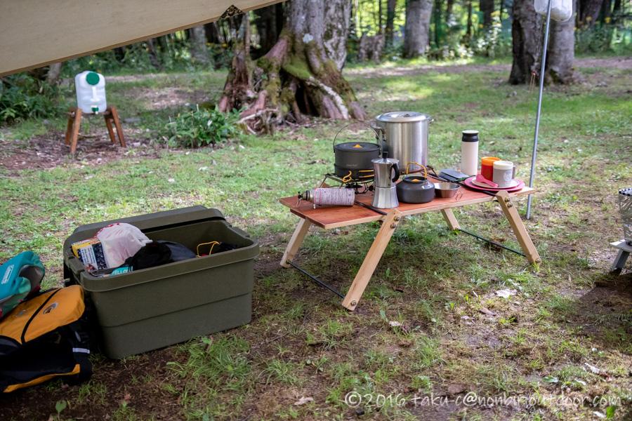 菅沼キャンプ村でテント設営完了