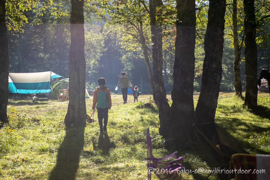 菅沼キャンプ村での早朝