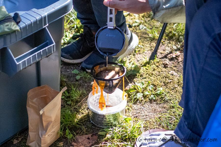 菅沼キャンプ村での早朝のコーヒー