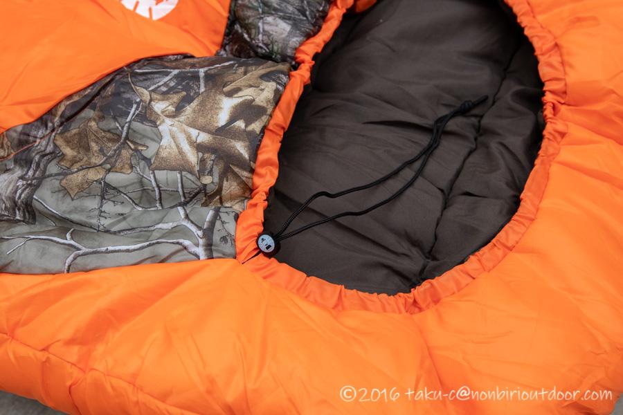 コストコ寝袋のコールマンRealtree Xtra Camo MUMMY SLEEPING BAGの入口部分